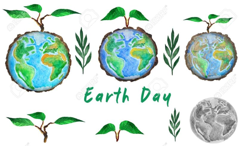 124032487 earth day set of globe and tree sprout watercolor painting