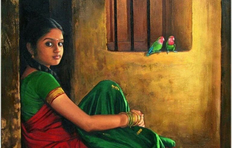 Tamil Girl with her Parrots